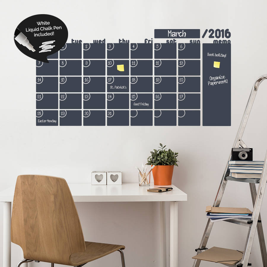 Monthly Calendar Write and Erase Wall Stickers by SirFace Graphics
