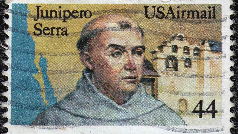 Commemorative postage stamp honoring Father Junipero Serra.