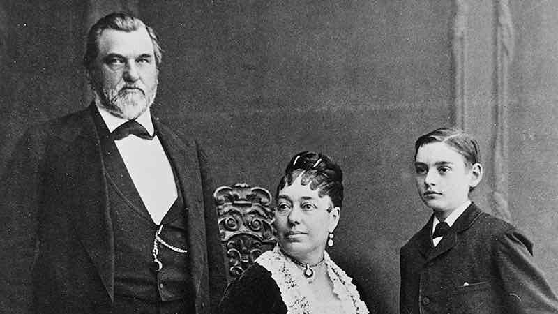Leland Stanford with wife, Jane, and son, Leland Jr.