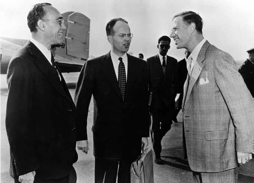 (left to right) General William H. Draper Jr., serving as Special Representative for the United States in Europe, William Tomlinson of the United States Liaison Office to the High Authority of the European Coal and Steel Community (ECSC) and Max Kohnstamm, secretary of the ECSC.