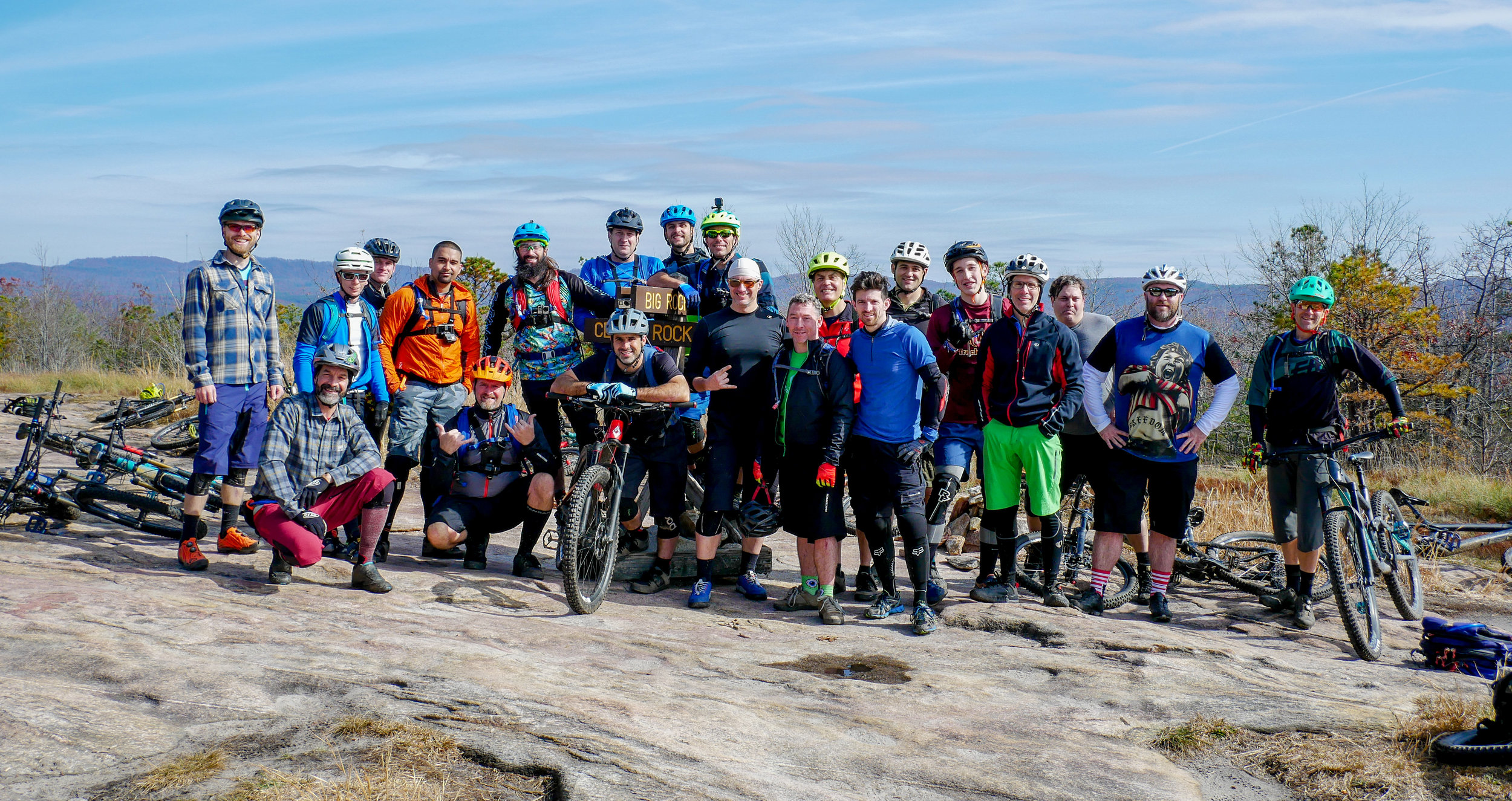 What an awesome crew for the inaugural Seth's Bike Hack's Trip!  This was taken at the top of Cedar Rock trail in Dupont State Forest.