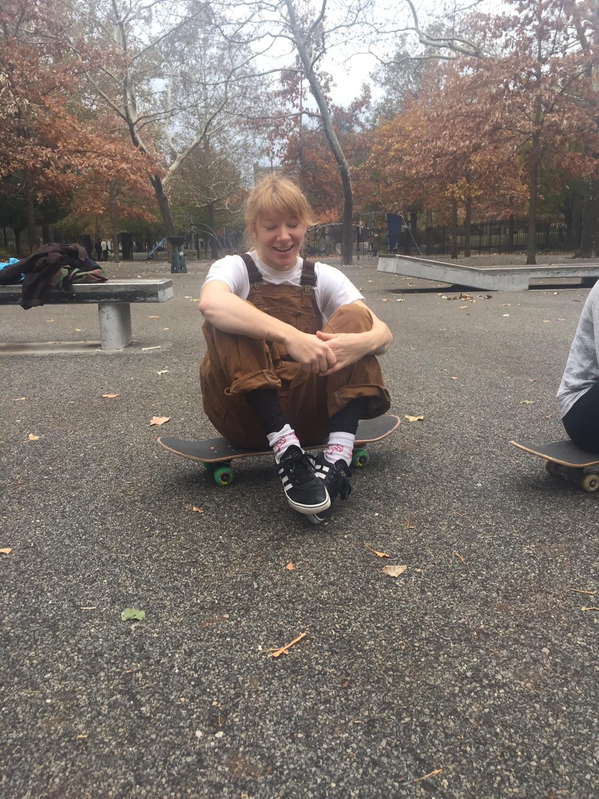 Skate crew is a go. Wassup, Helen!? Kickin it @ Brower Park in Crown Heights, BK.