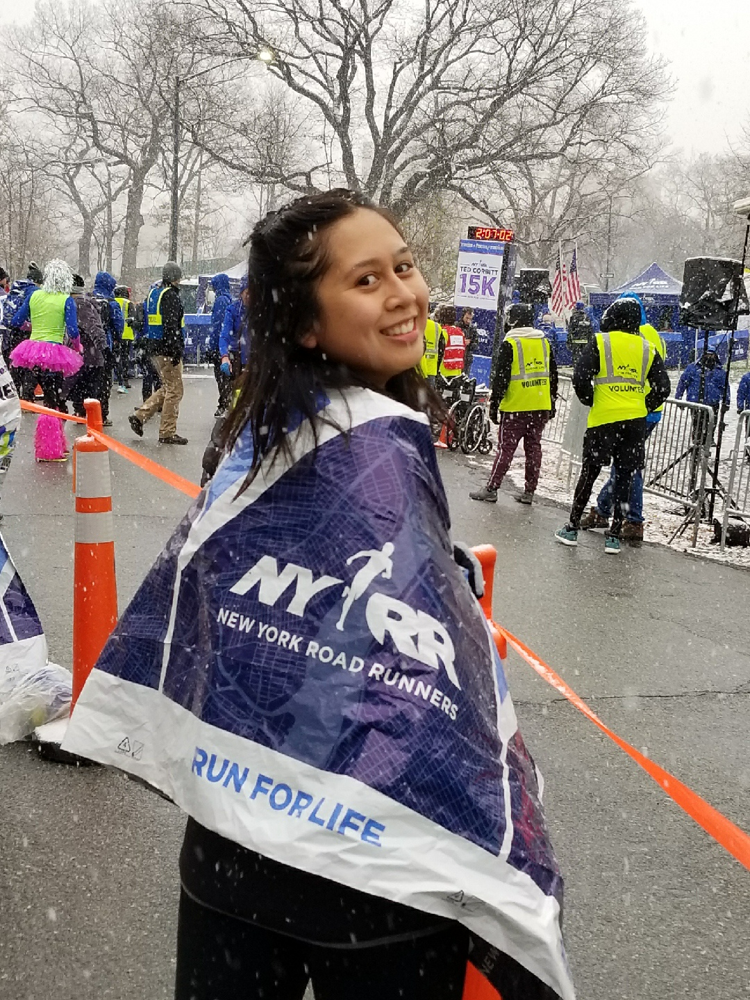 Nelli at the finish line of her 15K race here in NYC! # strongnotskinny