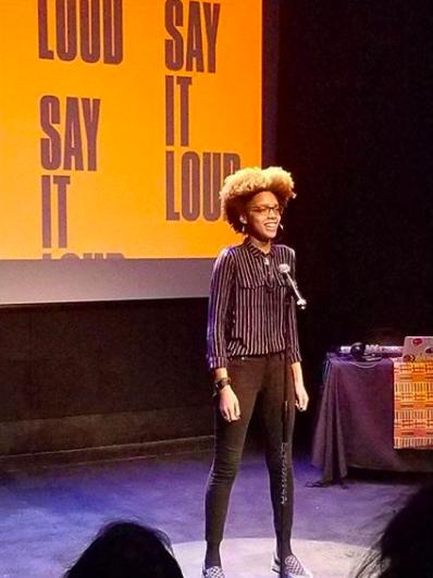 "Latiana performing at  NYU's ""Say It Loud"" showcase , winter 2018"