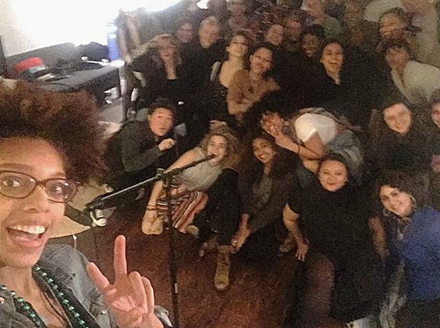 Stage selfie with  fundraiser  attendees, spring 2018