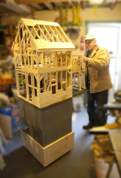 1870 Flume House model built by Alden Killen on display at the Fairbanks Center.
