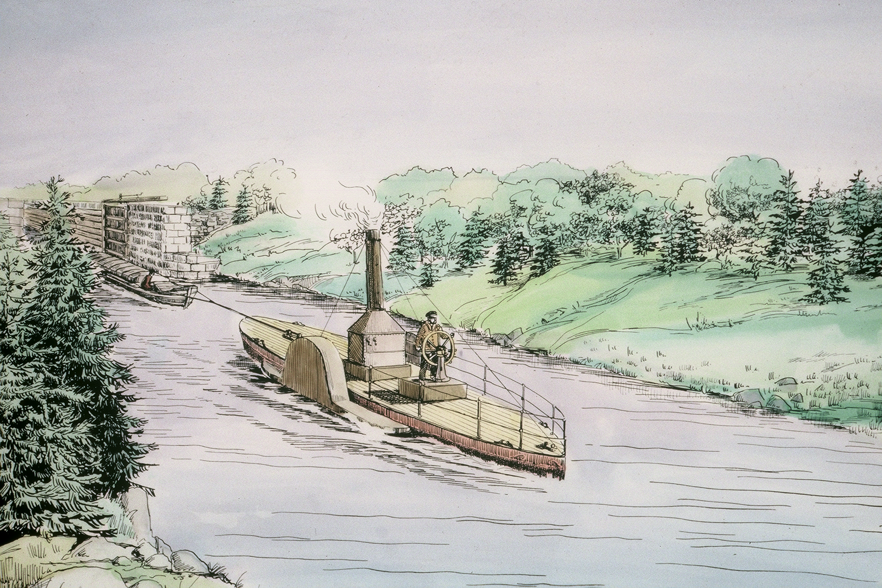 Sketch of the Avery working on the Canal.