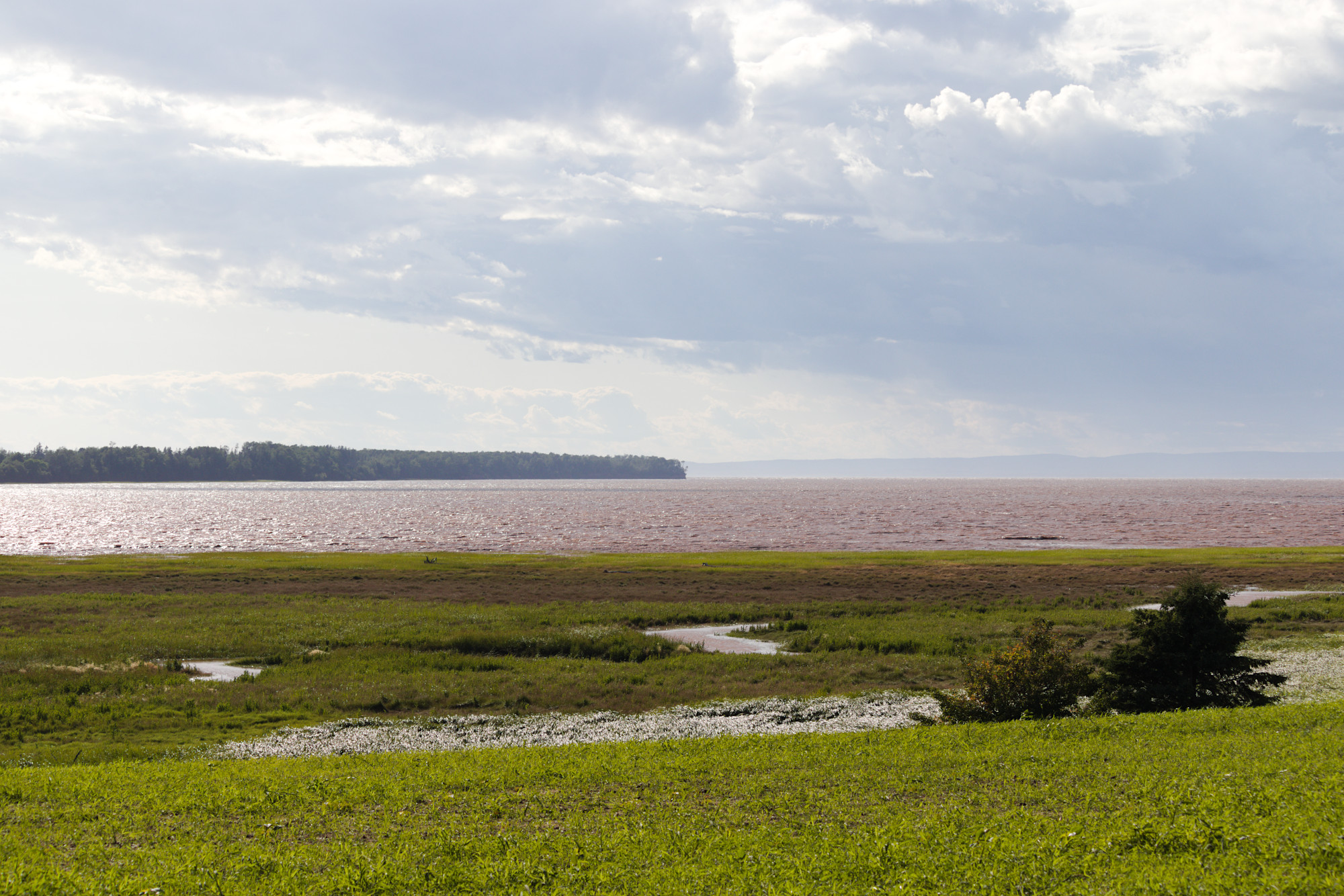 The mouth of the Shubenacadie River, viewed from the east side in Clifton, Colchester County. The western bank of the river (near Maitland) and the opposite coast of the Bay of Fundy (near Masstown) are visible in the background.