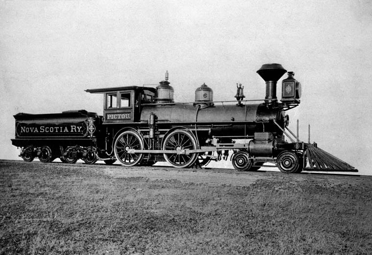 Nova Scotia Railway Engine No. 6,  Pictou . Locomotives like this one proved an insurmountable adversary for canals across the world in the mid-19th century.