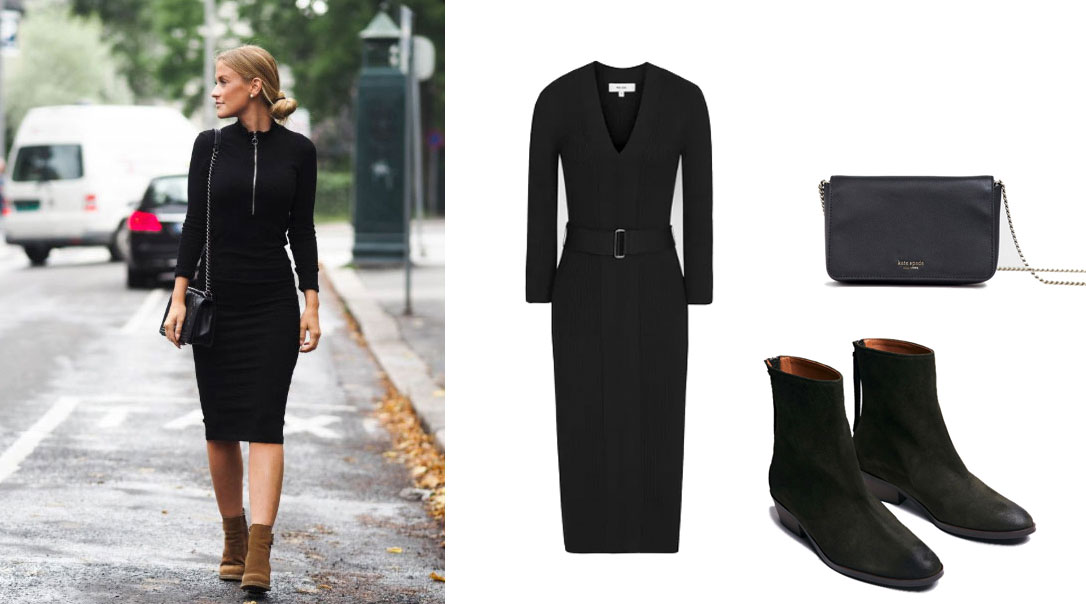 Pair ANONYMOUS Copenhagen Sacha forest suede ankle boots from Made The Edit with… Dress: Reiss. Bag: Kate Spade.