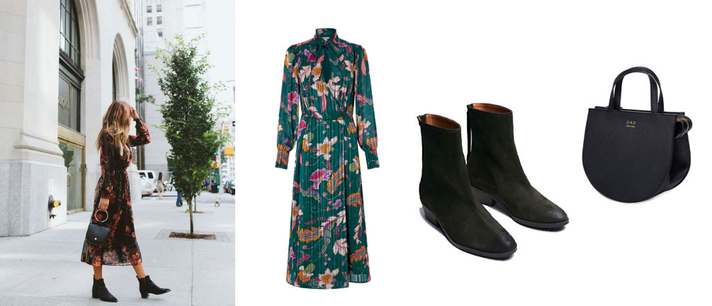 Pair ANONYMOUS Copenhagen Sacha forest suede ankle boots from Made The Edit with… Dress: Monsoon. Bag: OAD New York