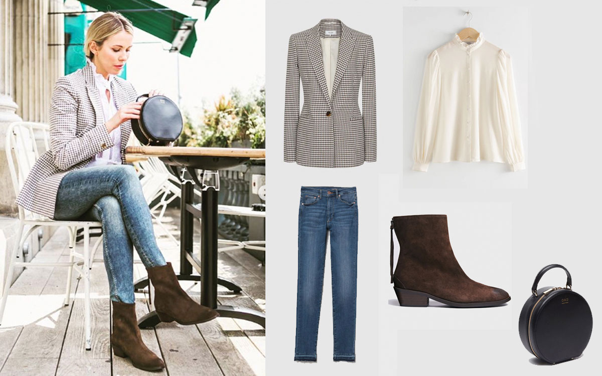 Pair ANONYMOUS Copenhagen Sacha brown suede ankle boots from Made The Edit with…  Blazer: Reiss. Blouse: & Other Stories. Jeans: H&M. Bag: OAD New York.