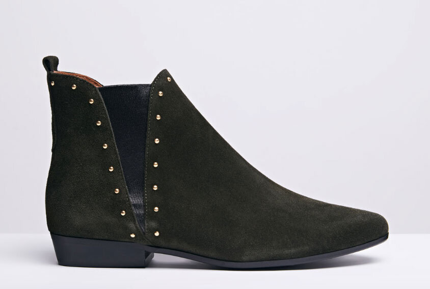 Inject some colour - Forest green is everywhere this autumn and it's one of our favourites. These suede ankle boots from ANONYMOUS Copenhagen also come with gold stud detailing to bring a little edge to your look. Those Danes certainly know a thing or two about how to style out a cold winter. ANONYMOUS Rita Forest - £205