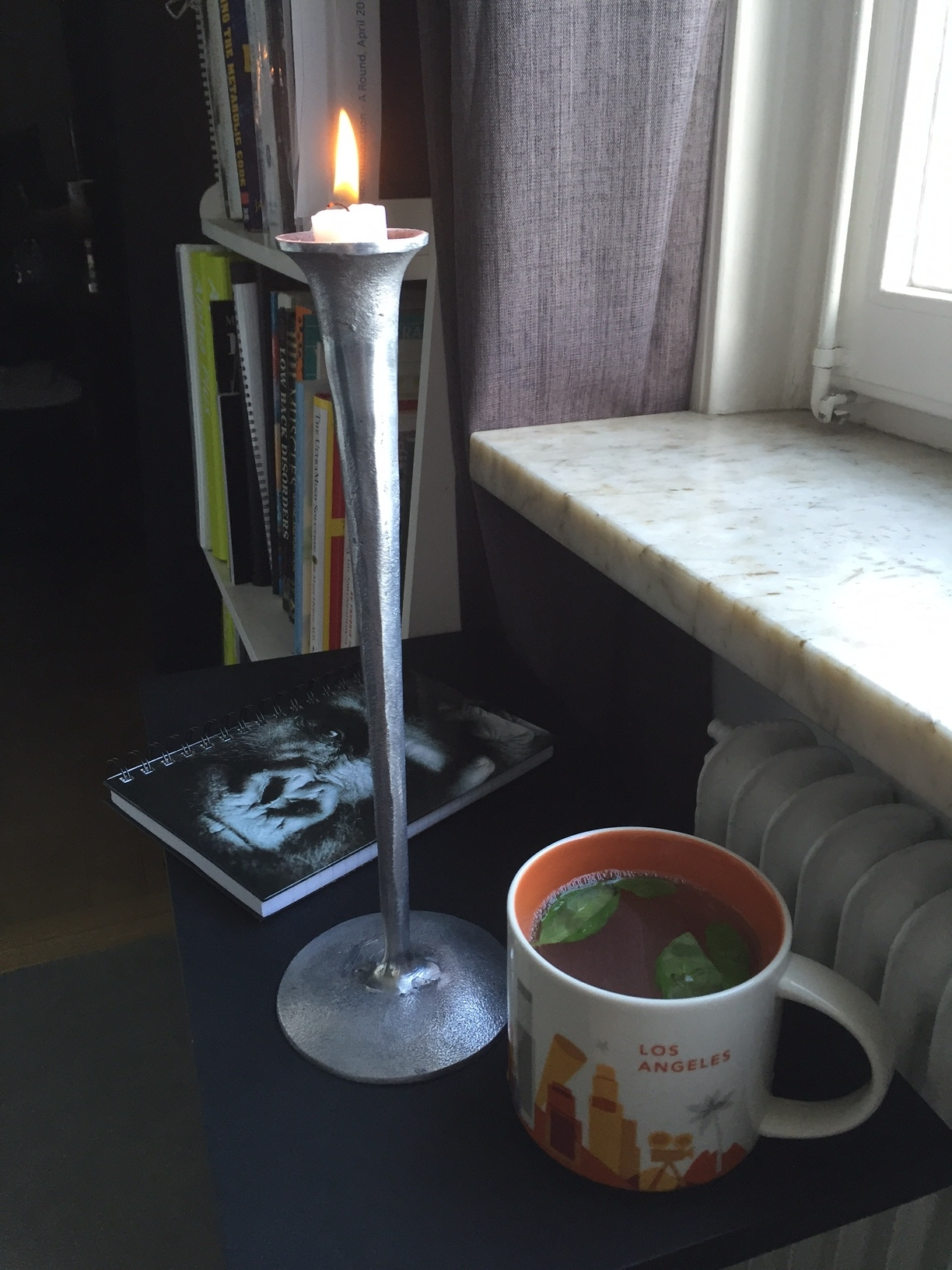 My morning tea routine and the notebook I use for my Monkey Mind log.