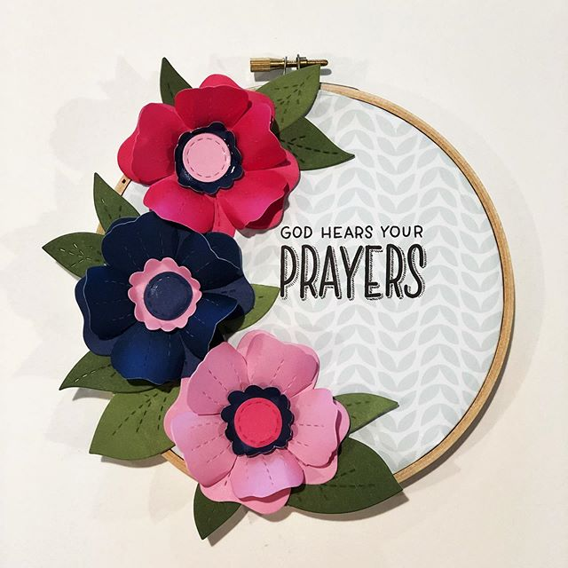Embroidery hoop and flower die cuts #ctmh