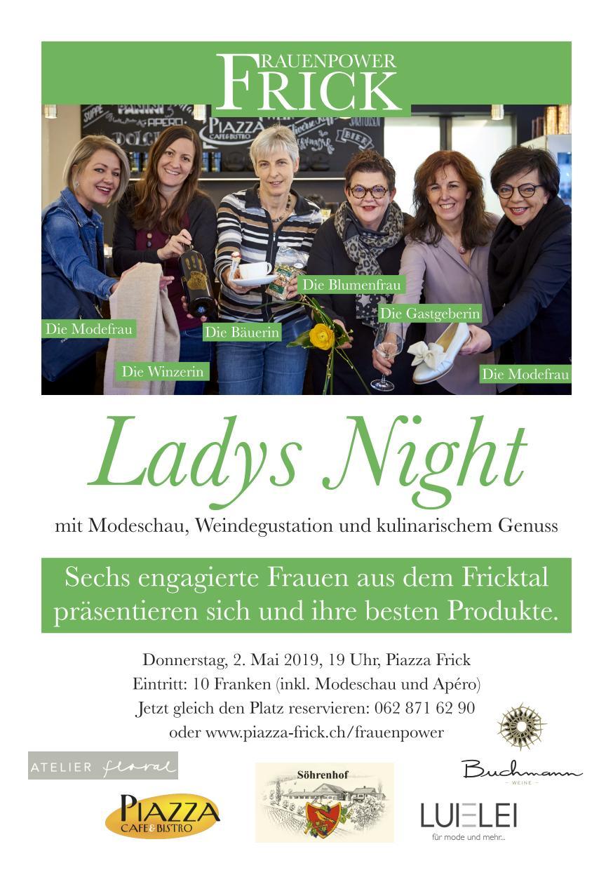 Die erste Ladys Night mit den sechs Power Frauen war ein voller Erfolg. Rund 90 Gäste haben den Abend mit Mode, Blumen, feinem Essen und Wein im Piazza genossen. - rund 90 Frauen haben den Abend mit Mode, Blumen und feinem Essen und Wein im Piazza genossen.
