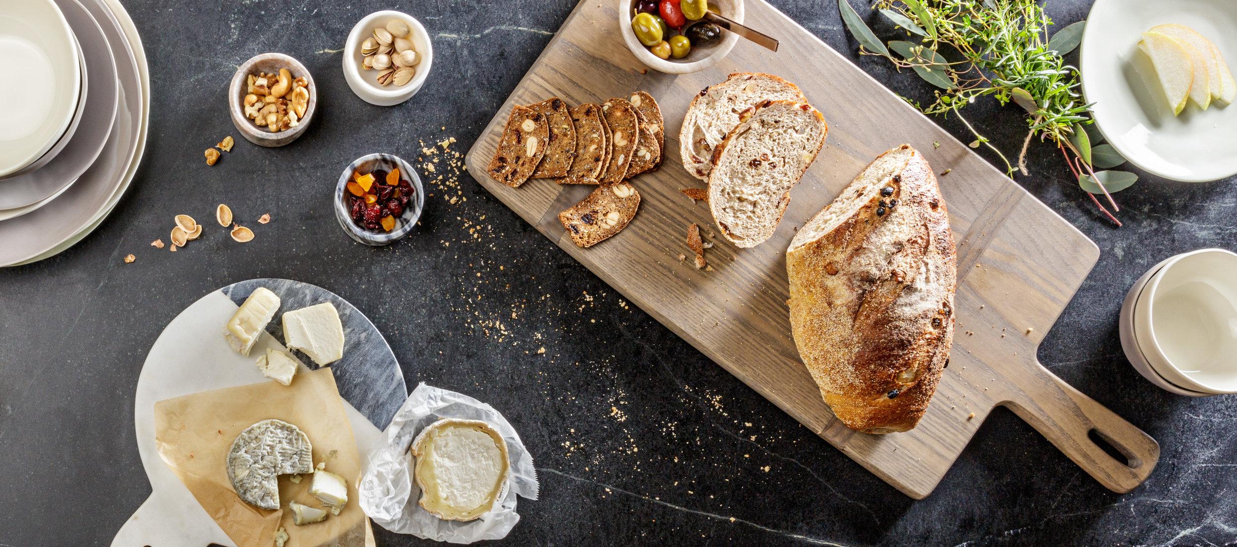 Overhead Bread Board Brunch Spread