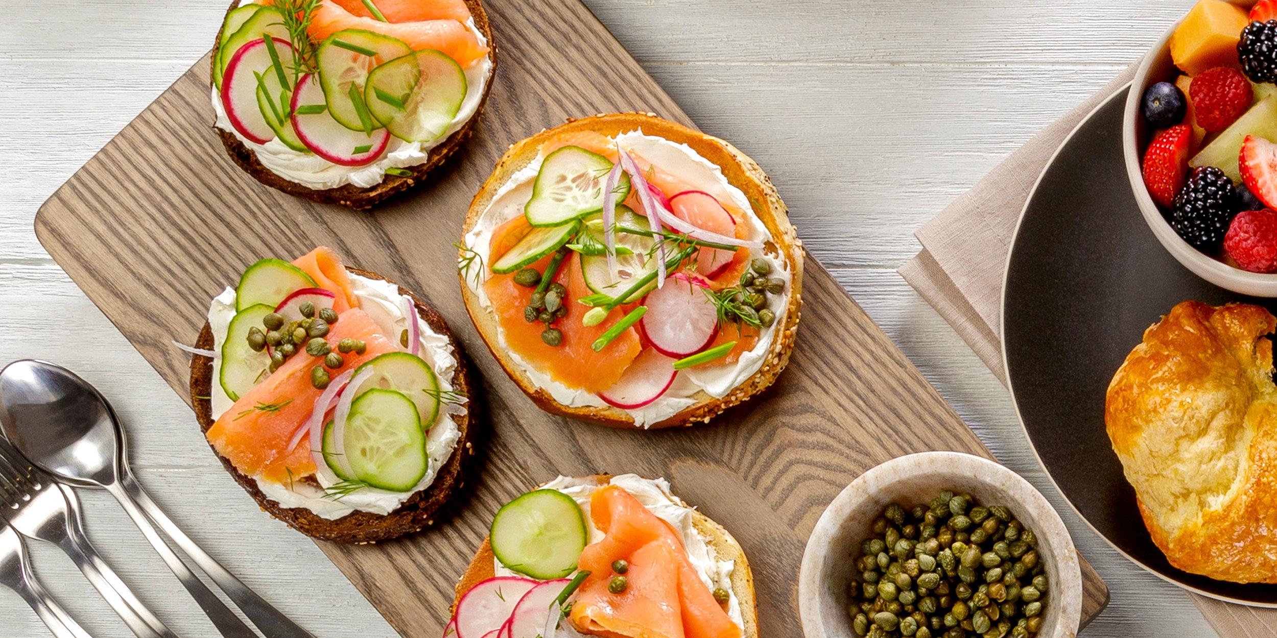 Overhead simple food spread - Bagels, Lox and Breakfast