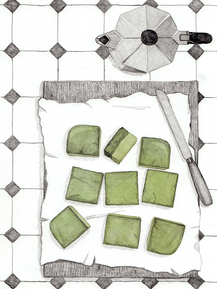 Hand-drawn Matcha Cake. Illustrated Recipes. Foodblog. New Cakes On The Block