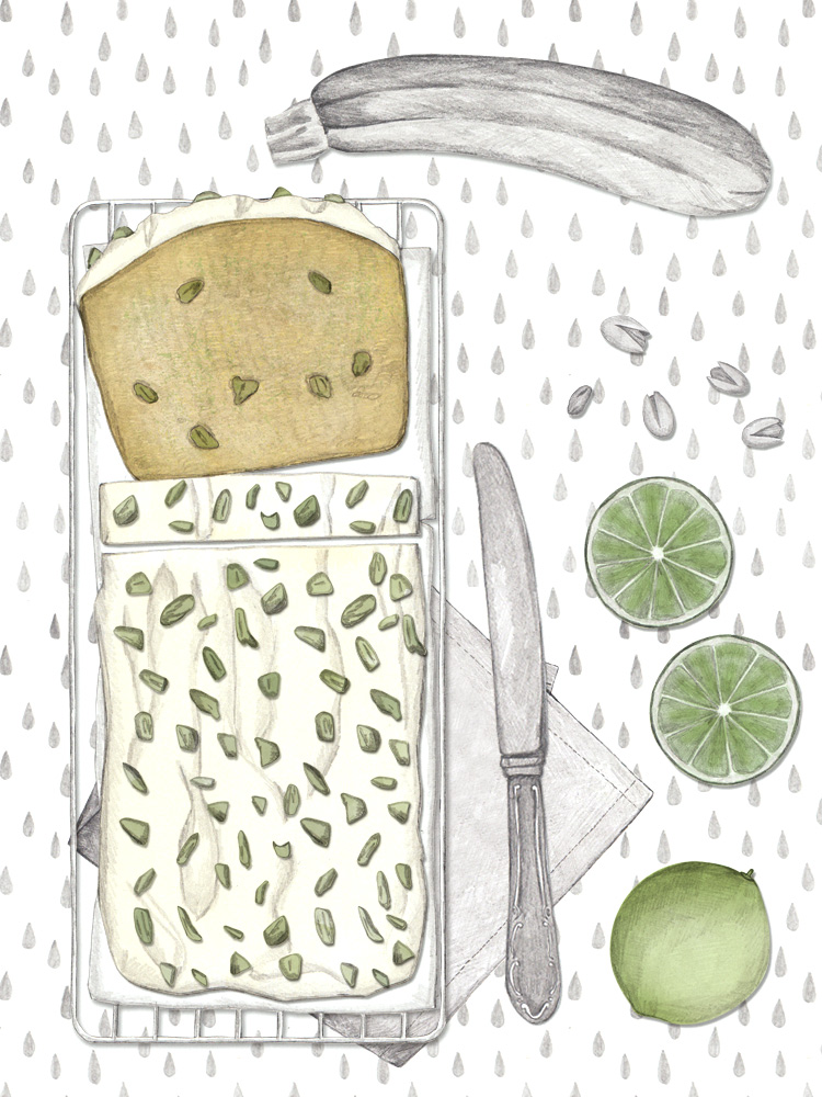 Zucchinikuchen, illustrierte Rezepte, Kuchenblog, New Cakes On The Block