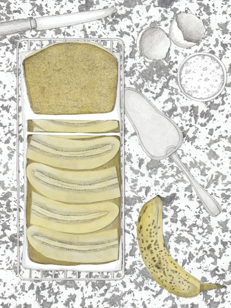 Verkehrter Bananenkuchen mit Karamellschicht. Kuchenblog. Einfacher Bananenkuchen.