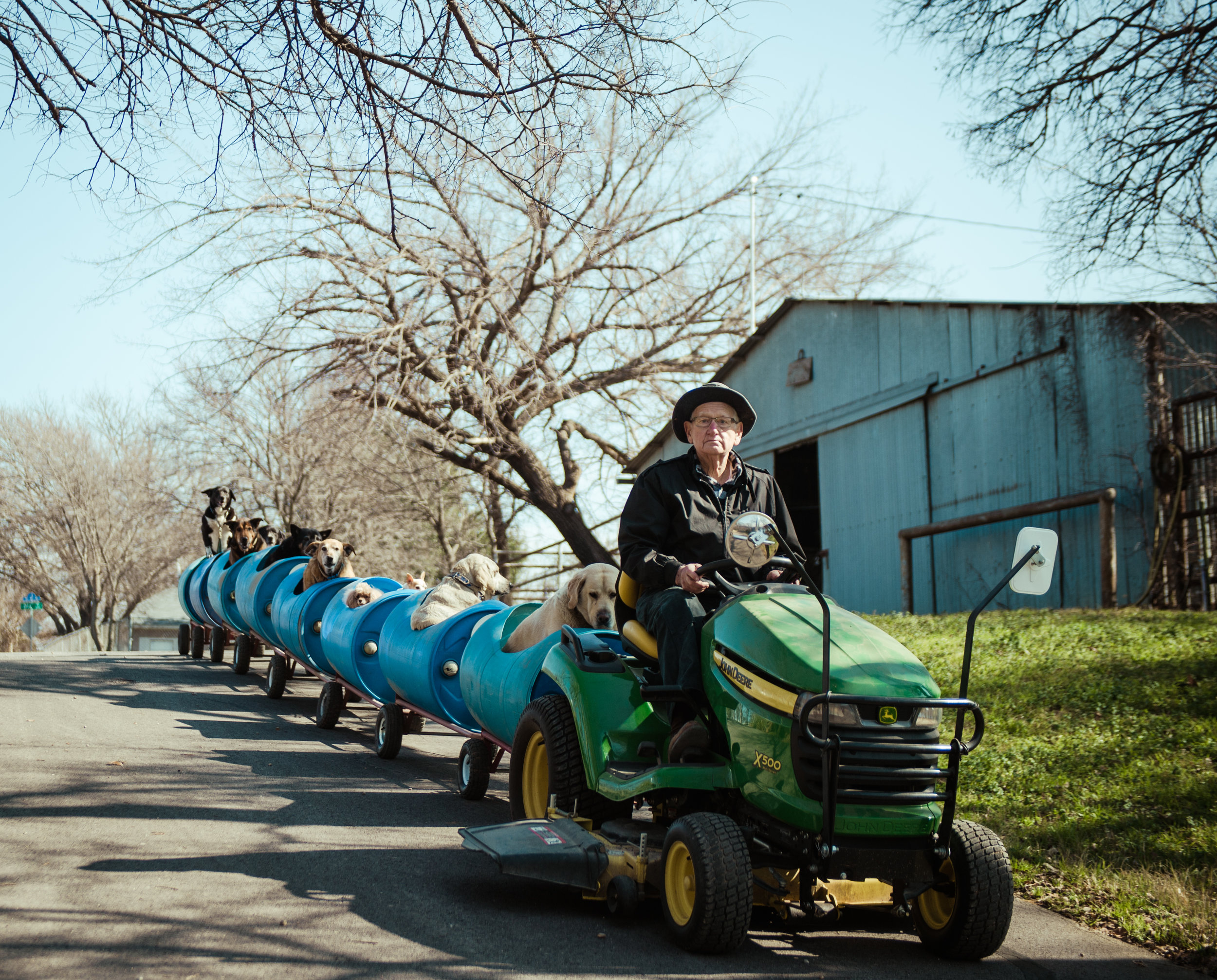 Eugene Bostick driving his dog train outside of his house in Fort Worth, Texas.