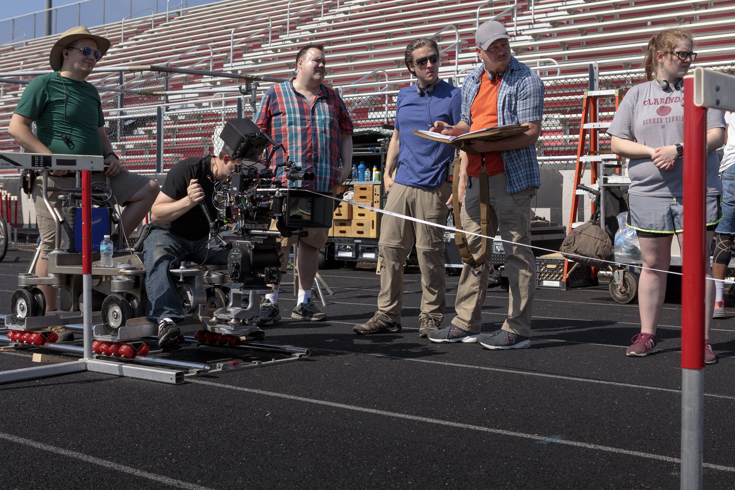 Featured in this photo from left to right, Austin Anglin (Key Grip), Darryl Miller, Tim Farrell (1st Assistant Director), Philip S. Plowden (Executive Producer/Director), Devon Colwell (Executive Producer/Writer), Alyssa Alexander (Script Supervisor).  Photo credit,  Steve Serio .