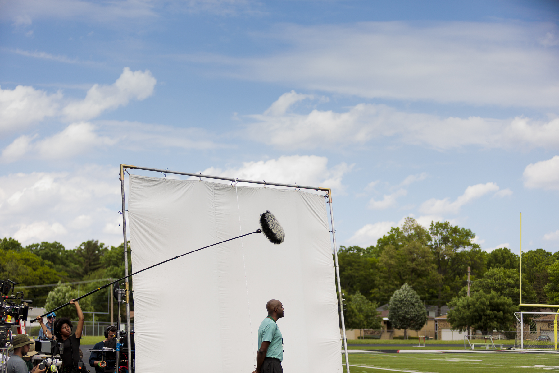 Filming day 1. Baili Martin (Boom op) recording sound over Carl Clemons-Hopkins.   Photo credit,  Steve Serio .