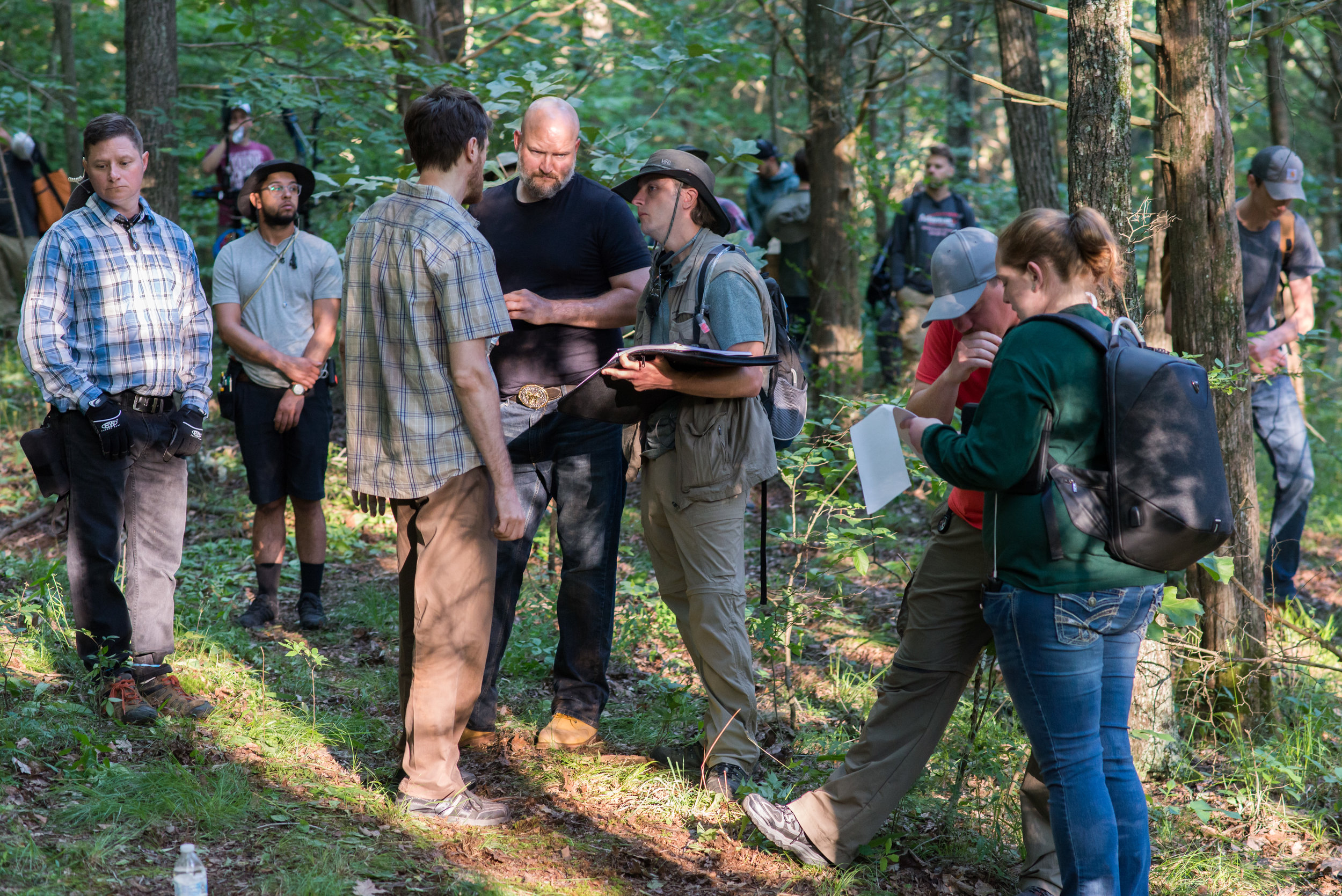 The crew sets up a shot with actors, Michael B. Woods (JARED) and Sean Patrick Leonard (WAYLAND).  Photo credit,  Nathan Fortmeyer