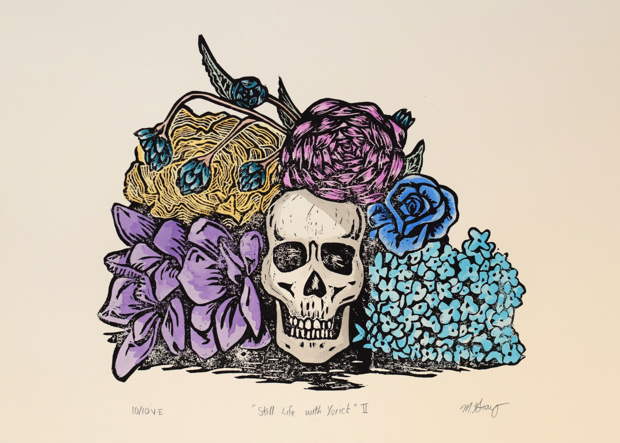 Linocut print - varied edition of 10 with watercolour paint, 11 in. x 15 in.