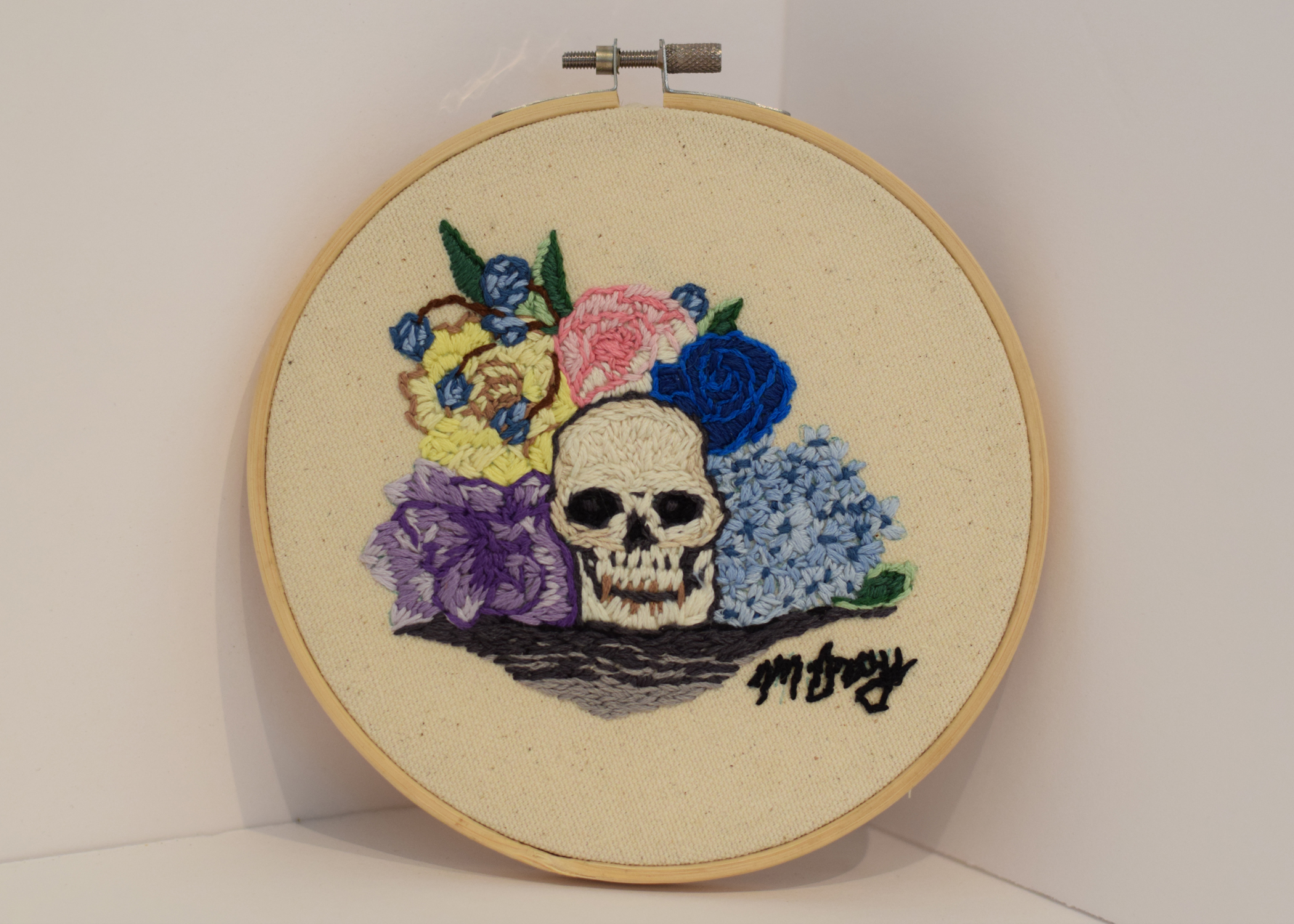 Embroidery on canvas,  6.26 in. circle