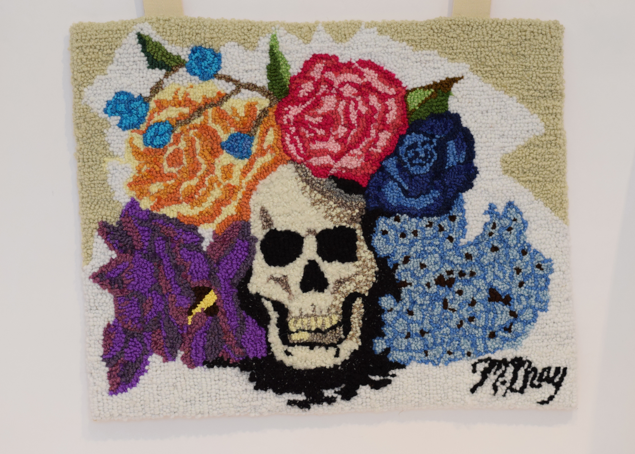 Rughooking with wool and burlap  16 in. x 20 in.