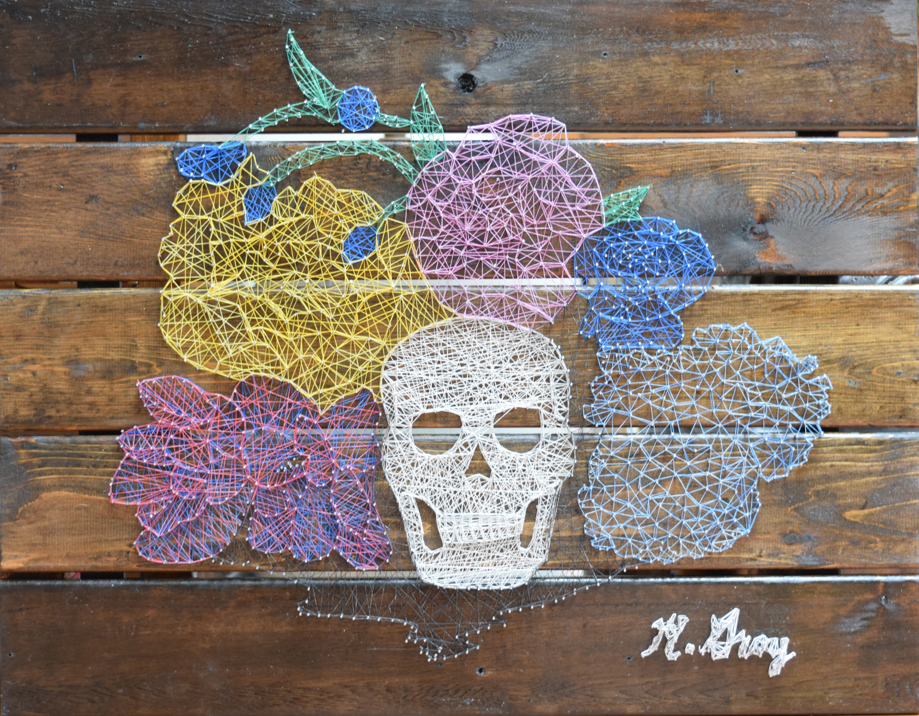 String dyed with pastel, and nails on wood 28 in. x 36 in.