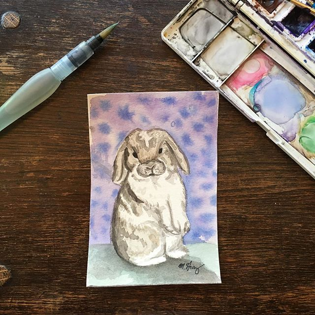 My niece has a pet hotel and this is her first customer Dobby, a dwarf holland lop. He is super friendly and soft.  #bunny #watercolour #petportrait #painting #practice #art #smallpethotel #mollygrayart  #