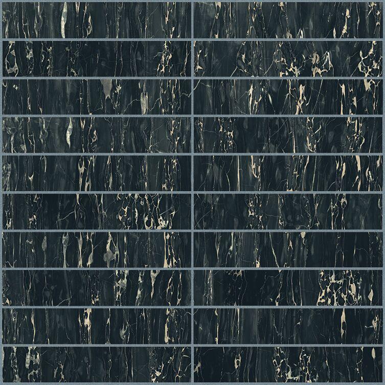Portoro glossy  mosaico 3x15 30x30 cm
