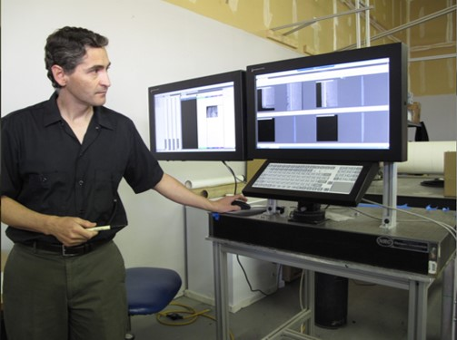 CEO and CTO Carlos Jorquera demonstrating an architectural product inspection