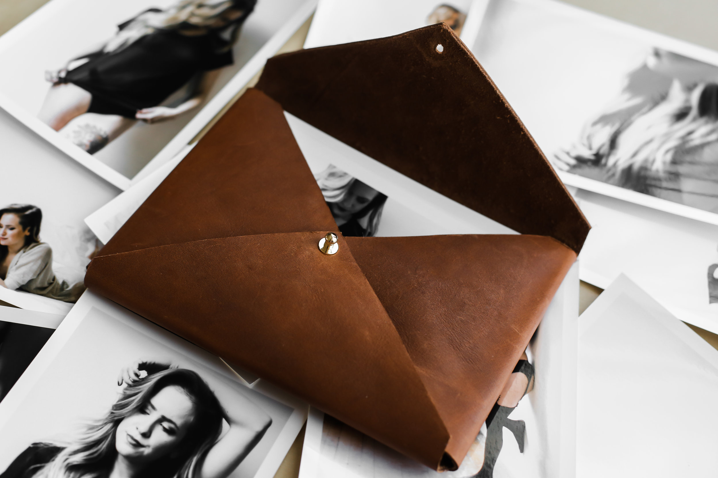 boudoir photography leather envelope