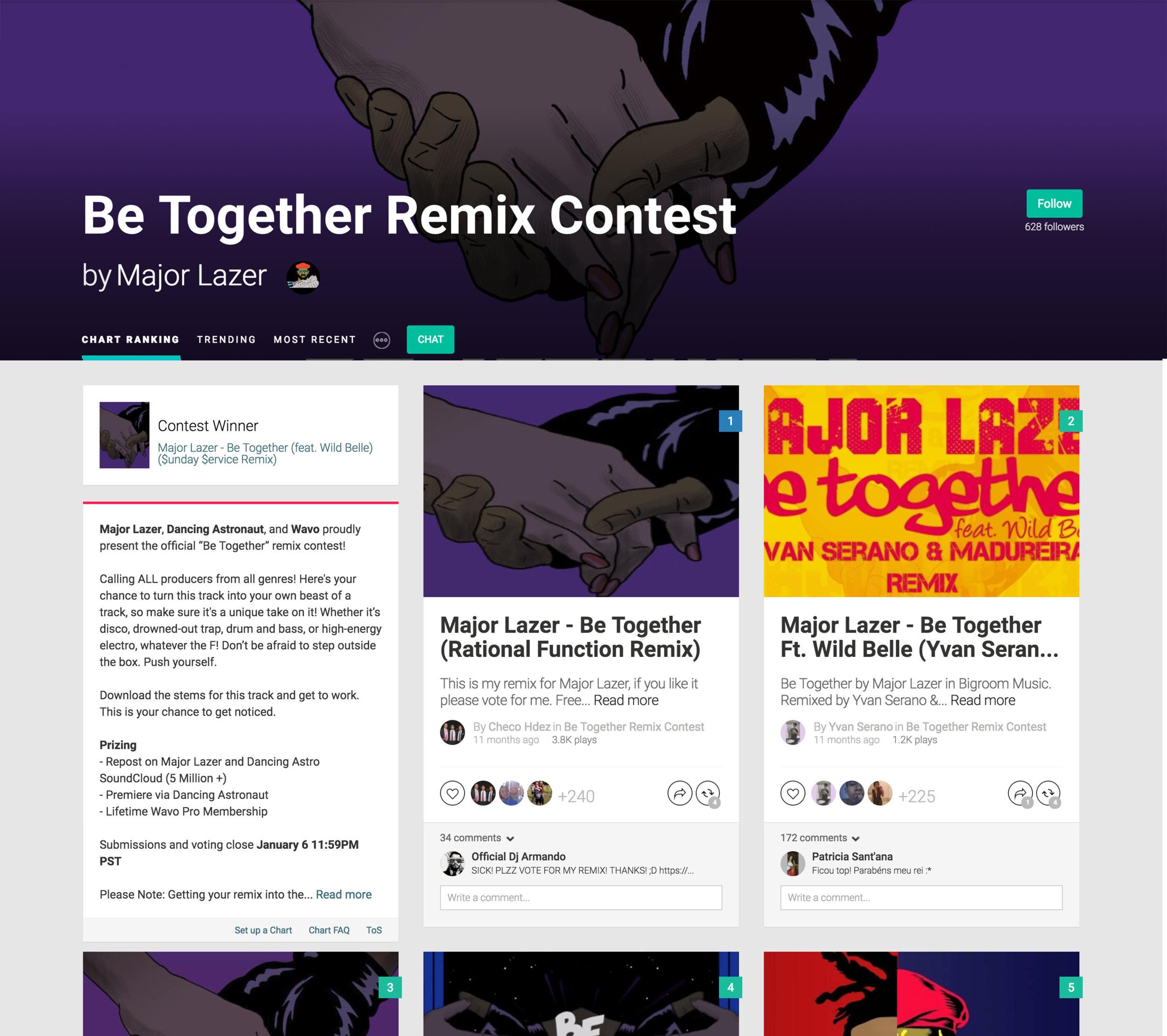 Major Lazer's Be Together Remix Competition hosted on wavo.me