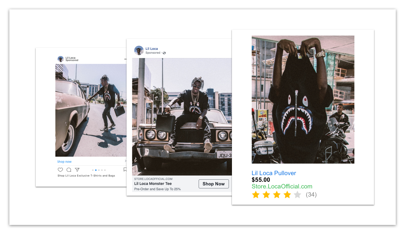 Reach fans at the right time - Get in front of fans with personalized shopping ads based on their historical engagement with your artist's e-commerce store. Maintain a healthy sales funnel at all times.