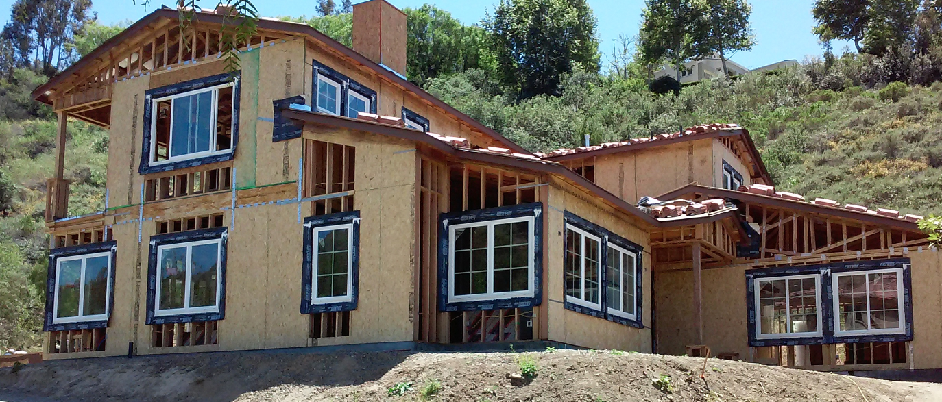 This house in California has been flashed using the Moisture Diversion Method® around the windows openings.