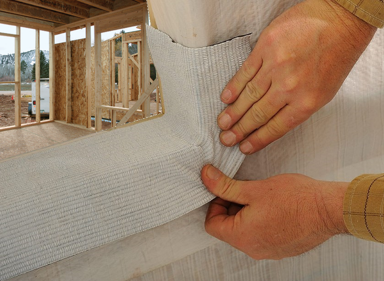 Always start your flashing project at the window sill before the window is installed. This allows a path to the outside if moisture should get behind the finished wall covering.