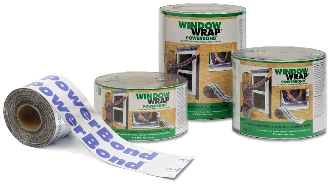 WindowWrap® PowerBond™ is available in both contractor cartons, as well as shrink-wrapped and labeled rolls for retail display.