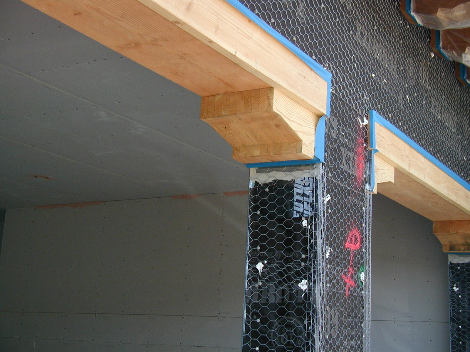 FutureFlash® was installed on this post for waterproofing protection underneath the stone and stucco finished surfaces.