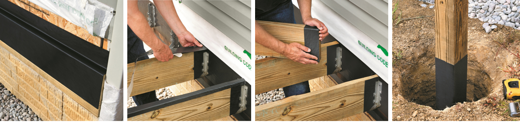 DeckWrap™ PowerBond™ is ideal for use on ledger boards, joist tops and ends, as well as posts.
