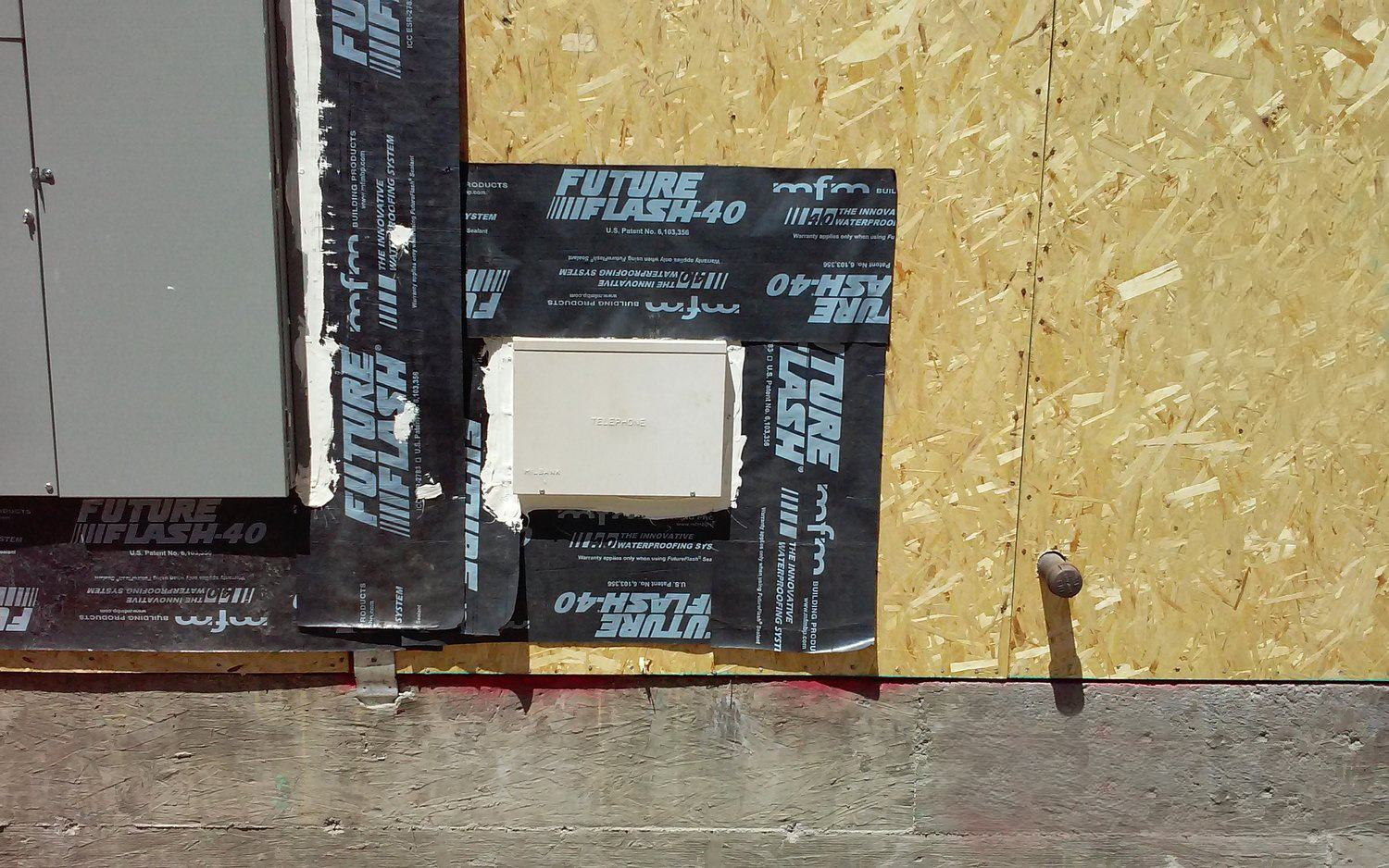 The exterior wall penetration has been easily flashed using FutureFlash® and FutureFlash® Sealant.
