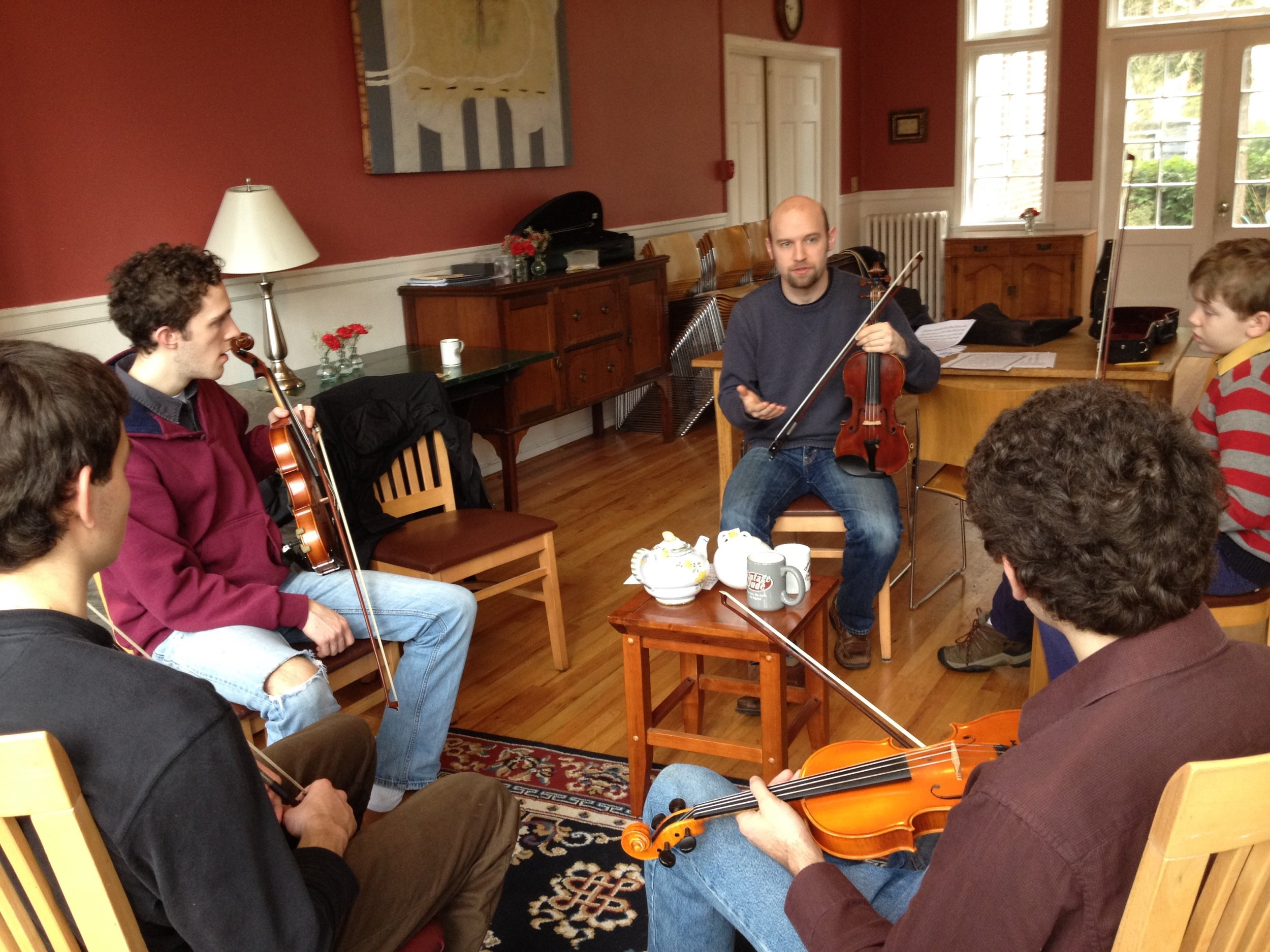 Fiddle workshop for the students at Gutenberg College, Eugene, Oregon