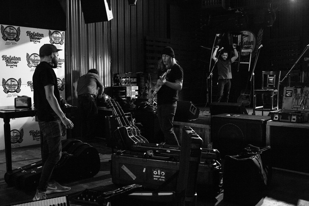 The crew setting up for an Acoustic Gig in Bristol, TN for a Radio Campaign. Photo by Jeff Olsen