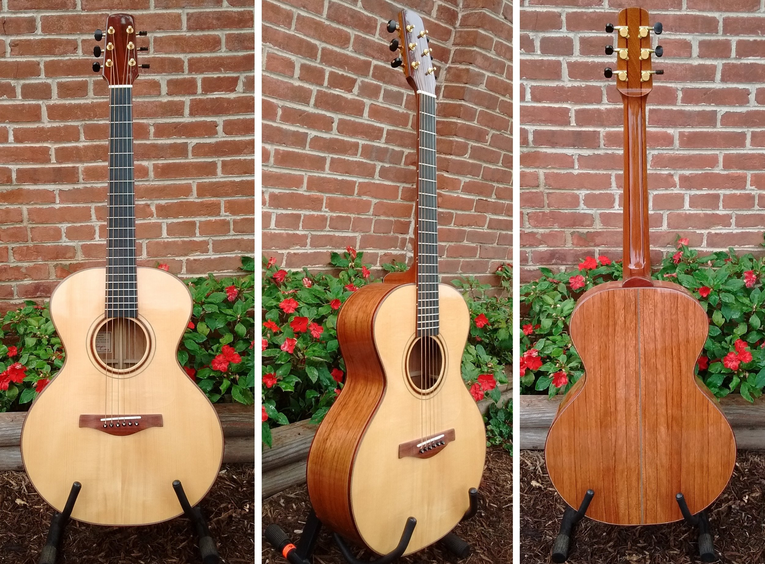 Handcrafted guitar by Thomas Roeger of Bloomington, IN    Top : Adirondack Spruce,  Back/Sides : Red Zebra,  Neck : Mahogany,  Bridge/Trim : Bloodwood,  Fretboard : Ebony  Regular Price = $2100 ,  10% off this weekend only!