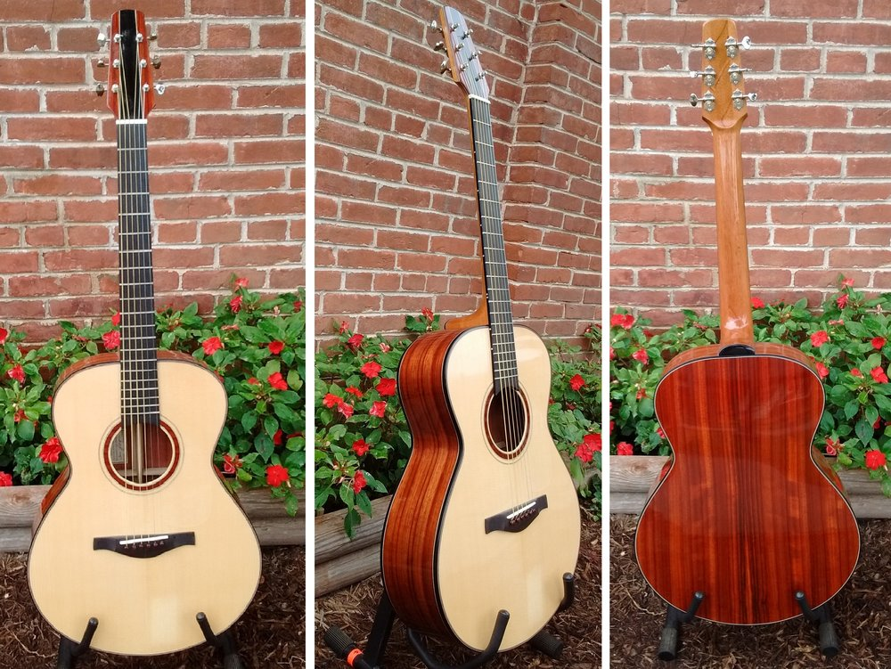HANDCRAFTED GUITAR BY THOMAS ROEGER OF BLOOMINGTON, IN   TOP:  CARPATHIAN SPRUCE, BACK/SIDES:  PADAUK,  NECK:  HONDURAN MAHOGANY, BRIDGE PINS:  COCOBOLO, FRETBOARD:  EBONY  REGULAR PRICE = $1999 , 10% OFF THIS WEEKEND ONLY!