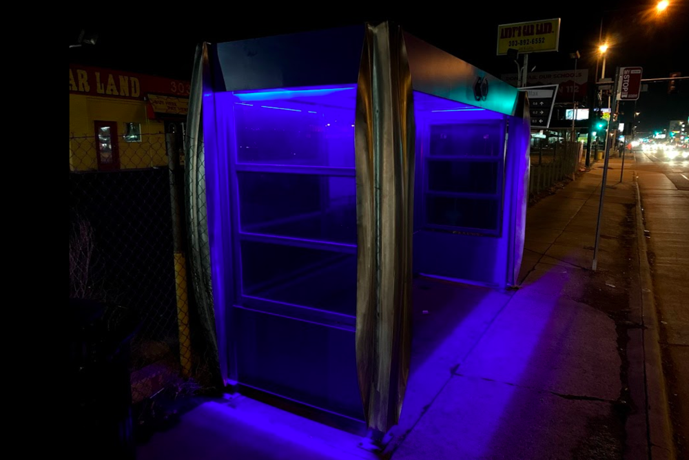 West Colfax BIPV Bus Stop Shelter | Blue Glow Night